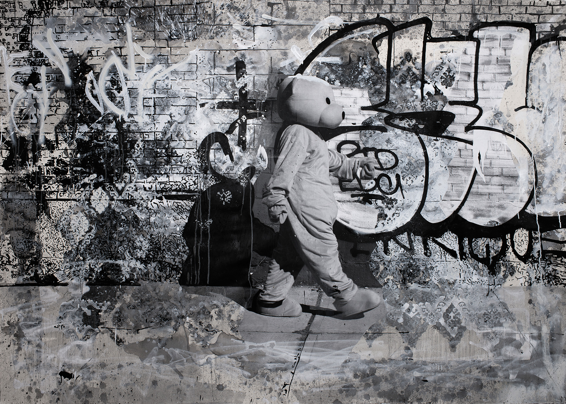 Pink Bear - New York - Acyrlic & Paper collage on Bockingford 300 gsm paper