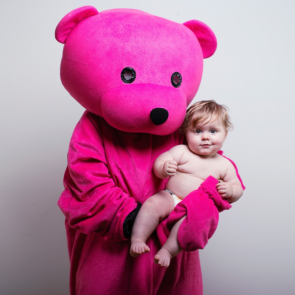 Harry Hanging out with the Pink Bear