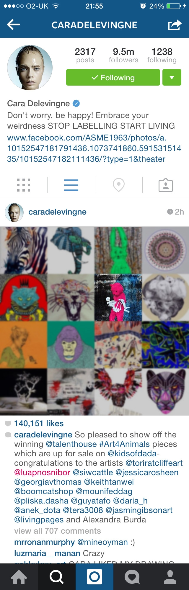 Cara Delevingne's instagram for #Art4Animals