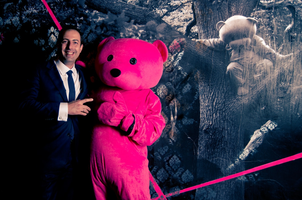 Plamen (Restaurant Manager) with the Pink Bear at DSTRKT