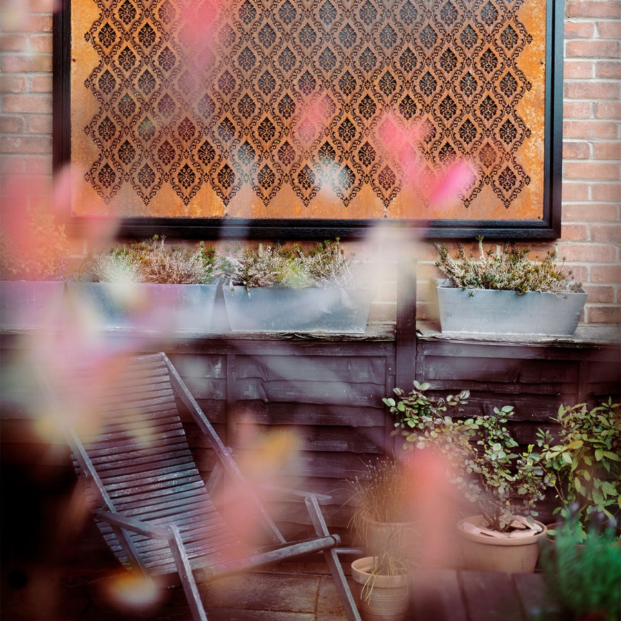 laser cut steel rusting in Homes & Gardens Magazine